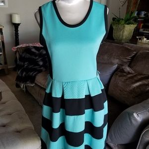 Girls teal n black stripe dress size 10